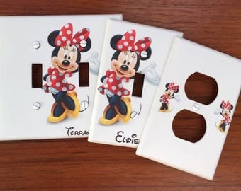 Disney Minnie Mouse Light switch cover Personalized red polka dots girls room // SAME DAY SHIPPING! **