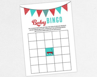 INSTANT DOWNLOAD Baby Bingo Card, Baby Shower Bingo, Baby Bingo PDF, Diy, Baby Shower Game, Radio Flyer, Red Wagon, Turquoise, Red, Retro