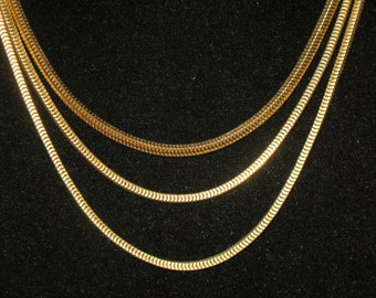 Coro Francois Triple Strand Chain Square Maille Heavy Gold Tone Necklace 21 inch