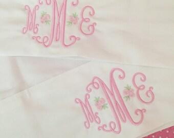 Monogrammed Pillowcases-Rosebud Monogram Set of 2, Custom pillowcases, Personalized pillowcases, Standard size