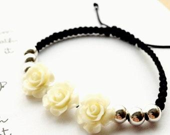 Sterling silver bracelet, Resine roses, Roses, Sterling silver jewelry.