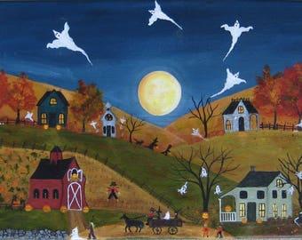 Halloween folk art**NEW**Halloween painting**Autumn decor
