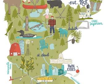 Land of 10,000 Lakes   Illustrated Minnesota Map   Art Print