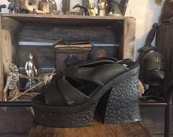 70's Disco Strappy Classified Chunky Platform Heels Size 6