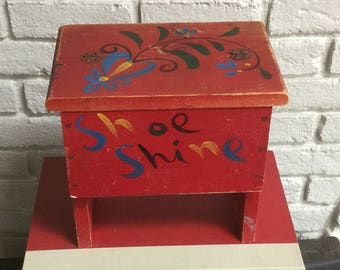 Vintage hand made red wood shoe shine kit stool