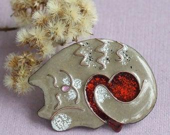 Cat brooch i love cat gray sleeping jewelry crazy cat lady gift animal jewelry enamel unique jewelry