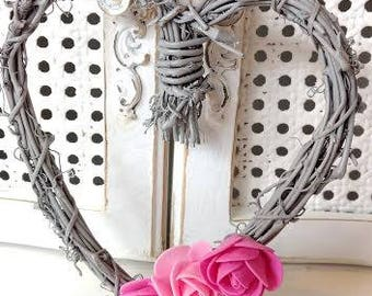 Small Grey Heart Shaped Grapevine Wreath with Pink Roses Home Decor Door Hanging Wedding Wreath