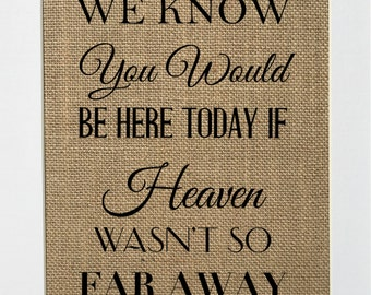 UNFRAMED We Know You Would Be Here If Heaven Wasn't So Far Away / Burlap Print Sign 5x7 8x10 / Home Decor Rustic Sign Housewarming Gift
