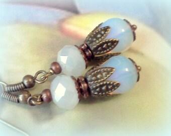 OpOpalite Earrings, Handmade Earrings, Vintage Style, Copper Earrings, Opalite Moonstone, Opalized Glass,  Sea Opal, Moonstone Opal, Dangles