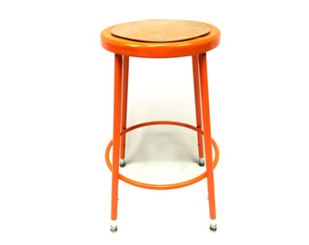 Orange Industrial Stool.Vintage.Industrial.Office Decor.Bar Stool.Man Cave.Counter Stool.Kitchen Decor.Dining Decor