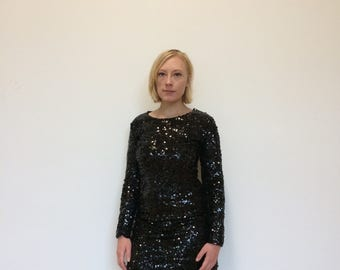 Contemporary Flapper Black Sequin Cocktail Dress