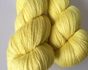 Natural Dyed laceweight yarn Merino Silk golden yellow 100g