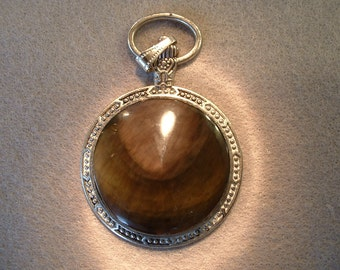 Pocket watch pendant, Obsidian.