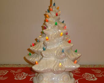 """Vintage White Ceramic Christmas Tree with Multi Colored Lights -  17"""" Tall"""