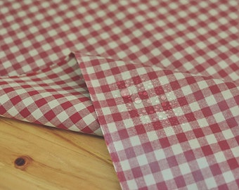 Laminated Cotton Fabric 1 cm Red Plaid By The Yard