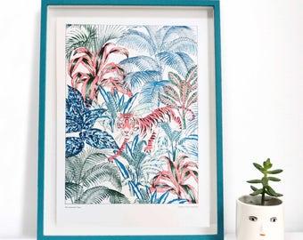 Tiger Wall Art Print, Jungle Riso Artwork, Tropical Interior print