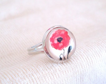 Poppy Ring, Red Flower Jewelry, Floral Jewellery, Rhodium Titanium Ring
