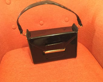 1960s Crown Lewis Large Patent Leather Purse Excellent Condition