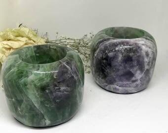 Fluorite Tealight Candle Holder - The Stone for Communication and Spiritual Awakening