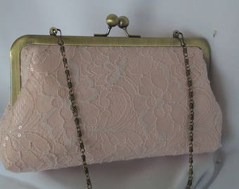 Blush lace sequin evening wedding summer clutch Rustic wedding clutch BBsCustomClutches