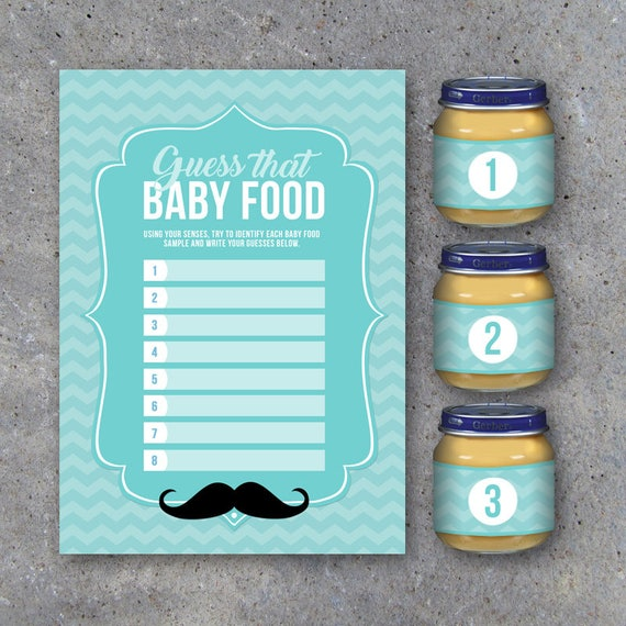 baby shower guess that baby food game with baby food jar labels