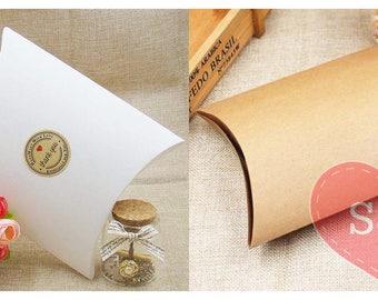 50x White/Brown Kraft pillow birthday/wedding party favour boxes lolly bags
