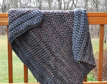 FREE SHIPPING-Crochet Throw Blanket- Soft, Black Yarn with flecks of White and Pink, Framed with a Gray Edge- Made with Two Strands of Yarn