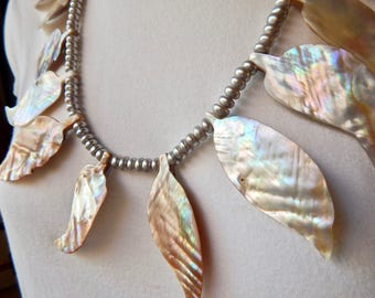 Leaf Bib Necklace, Shell and Pearl Statement Necklace