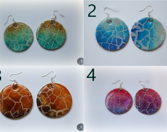 Round multi color earrings from polymer clay and resin