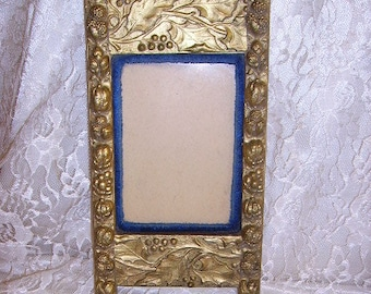 Antique Victorian Gilt Gesso and Velvet Picture Frame/Late 1800's