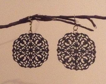 Black metal filigree earrings