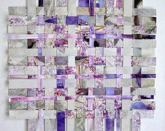 Purple Paper Weaving- Original Abstract-  Mixed Media- Woven Paper Art- 9x9- Lilac, Grey, Spring