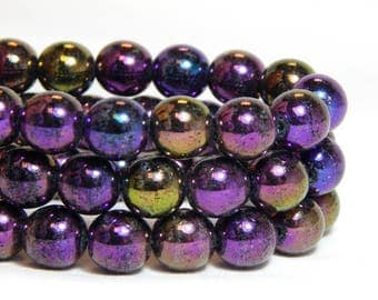 8mm Iris Purple Beads, Purple Beads, Iridescent Beads, Iris Purple Beads, 8mm Purple AB Beads, Purple Round Beads, 8mm Purple Beads, T-20A