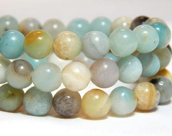 6mm Flower Amazonite, 6mm Mulit-Color Amazonite, 6mm Amazonite, 6mm Amazonite Beads, 6mm Gemstone Beads, 6mm Natural Stone, Gemstones, B-12B