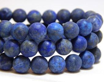 6mm Matte Lapis Lazuli, 6mm Matte Lapis Beads, Matte Lapis Lazuli, 6mm Frosted Lapis, Frosted Gemstones, Matte Lapis Lazuli Beads,  B-23B