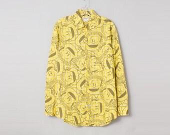 JC Castelbajac Men's 1990s Vintage Printed Yellow Shirt