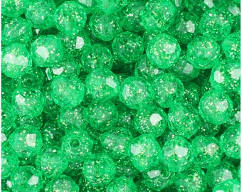 BeadTin Mint Green Sparkle 8mm Faceted Round Plastic Craft Beads (450pcs)