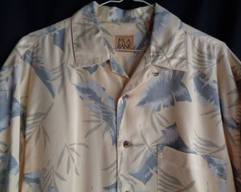 Vintage Hawaiian style shirt silk yellow with blue leaves