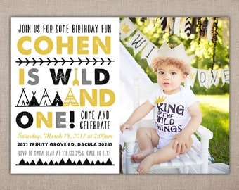 WILD AND ONE - Printable Birthday Invitation, Where the Wild Things Are Party, First Birthday Photo Invitation, Tribal Boy Invitation, 1st