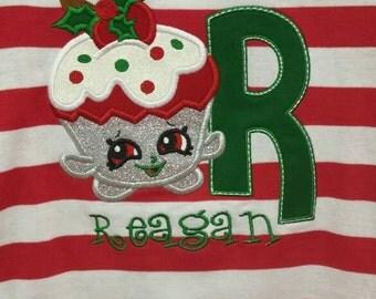 Shopkin Christmas Shirt Cupcake Queen Design with Name
