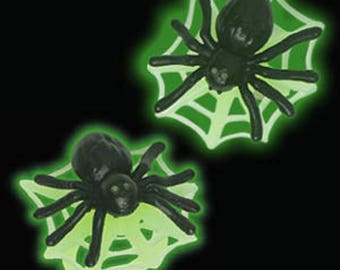 12 Spider Glow In The Dark Cupcake Rings Halloween Toppers Party Favors