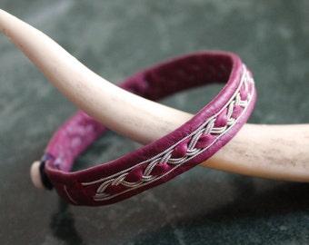 Magenta, Reindeer Leather braid Sami bracelet