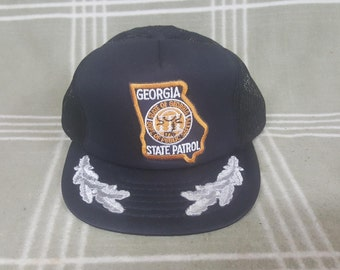 Vintage Georgia State Patrol Snapback Mesh Trucker Hat Cap. Police. Retro.