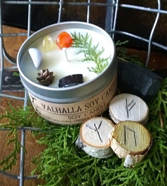Valhalla Soy Candle infused Citrine, Carnelian, Blue Lace Agate, and Hematite