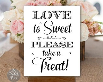 Love Is Sweet, Printable Dessert Table Sign, Black and White, Dessert Bar, Wedding, Party (#DES3B)