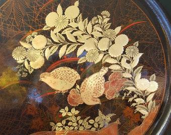 Vintage Otagiri partridges tray Japan - Otagiri tray - vintage Otagiri Japan - serving tray - partridges tray - Japanese tray Otagiri
