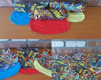 Marvel Avengers Comic Set of Three Baby Burp Cloths in Red, Yellow, and Blue!