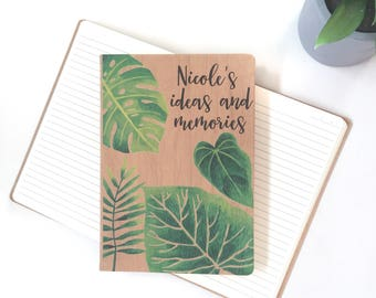 Personalised notebook journal - monstera leaf with timber - custom book journal note book greenery