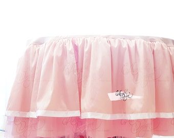 Fairytale Round Crib Bedding Skirt | Ballerina Bedroom Nursery Decor | Customized Pink Ruffled Tutu Skirt & Bumper | Newborn Baby Girl Gift