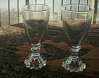 Set of  Anchor Hocking  Boopie Bubble Edge Foot Juice/Wine Glasses